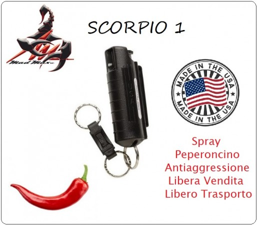Spray Anti Aggressione Antiaggressione Portachiavi Scorpio 1 Difesa Personale Libera Vendita Maximum Streength Pepper Spray Mad Max  Art.MM-SCORPIO