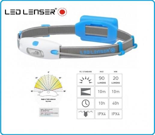 Torcia Frontale Professionale Led Lenser NEO colore Azzurro Protezione Civile Soccorritori Alpinismo Sport Running Art.6110