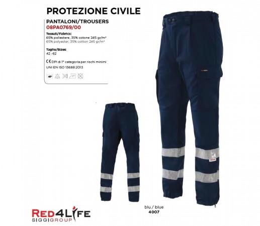 Pantalone Professionale Certificato Alta visibilità EN471 Classe 2 Soccorso Sanitario Protezione Civile RED4LIFE Siggi Art. 08PA0769