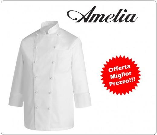 Giacca Professionale Unisex Cuoco Chef Bianca Modello 100% Cotone Gabardine By Amelia Primo Prezzo per Scuola Alberghiera Art.AMELIA-1