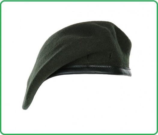 Basco Militare Beret Verde Marcio Bordino Pelle Esercito Vigilanza Sicurezza Polizia Art.211117-V