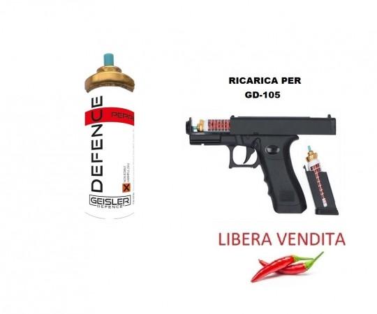 Cartuccia di Ricarica Spray Antiaggressione per Glock GD-105 Geisler Defence Art. MC8-1