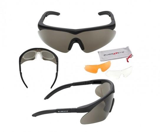 Occhiali SwissEye Raptor  3 lenti Chiare Scure e Gialle Poligono Emergenza Polizia carabinieri GPG IPS Certificati 256107 Art. 10161