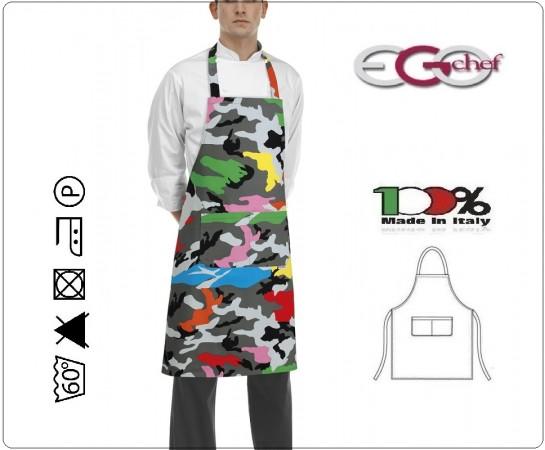 Grembiule Cucina Pettorina con Tascone cm 90x70 Camuflage Colorato Ego Chef Italia Art. 6103149A