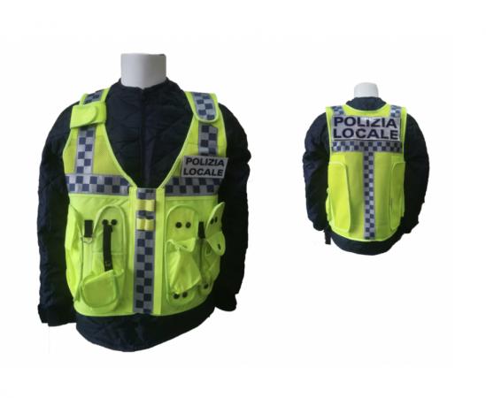 Gilet Alta Visibilità Gilo Fluorescente Neutro - Polizia Locale - Guardie Giurate GPG IPS Taglia Unica Art. NEW-GG-PL
