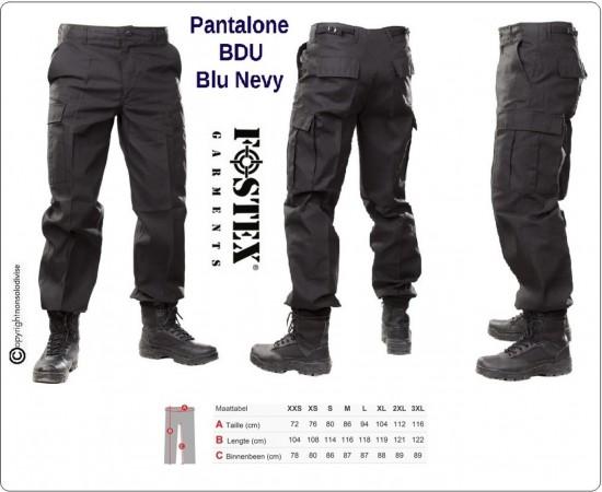 Pantaloni BDU Operativi Multi Tasche OP Ordine Pubblico Blu Notte  Personalizzabili con Ricamo Vigilanza Polizia Privata Guardie Giurate Art.111211-B