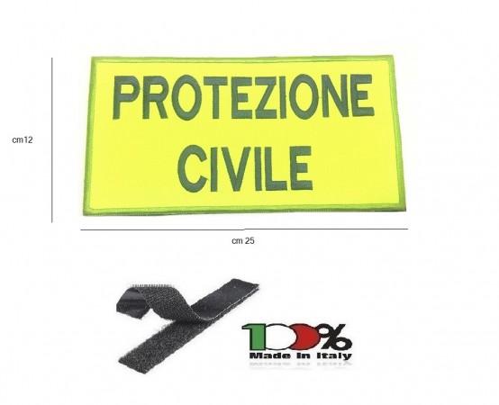 Patch Toppa Gigante per Giubbino Ricamata con Velcro Protezione Civile Italia cm 25x12 Art. NSD-G-PC