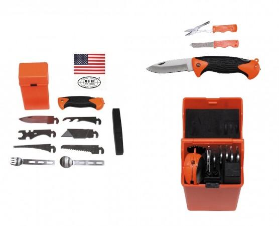 Kit Sopravvivenza Campeggio Militare MFH Combat Survival Kit SPECIAL 27 Pezzi Art. 27112