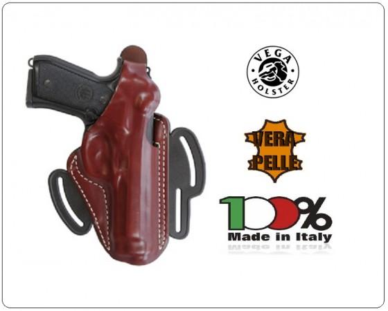Fondina a Sgancio Rapido Professionale Pelle Colore Nero o Marrone Vega Holster Italia  Polizia Carabinieri Art.FH1