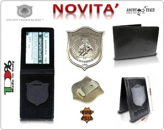 Portadocumenti + con Placca Operativa GPG-IPS PANTERA Guardia Particolare Giurata Incaricata di Pubblico Servizio Nazionale Ascot Italy Novità Art.360GPG