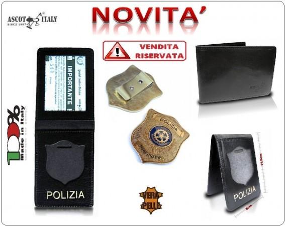 Portadocumenti + con Placca Operativa Polizia Amministrativa Ascot Italy Novità Art.360PA