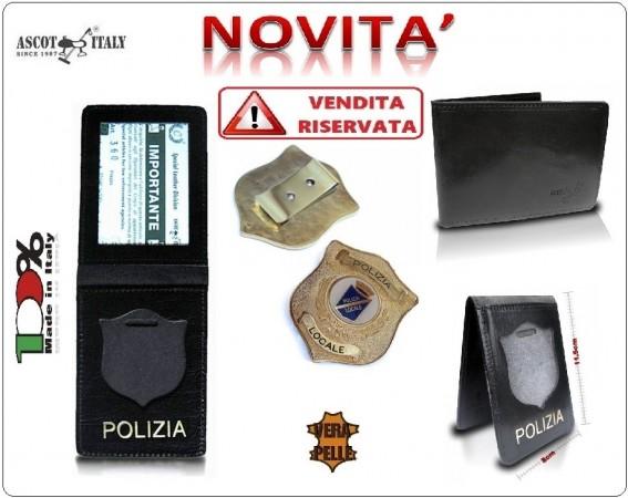 Portadocumenti + con Placca Operativa Polizia Locale Ascot Italy Novità Art.360PL