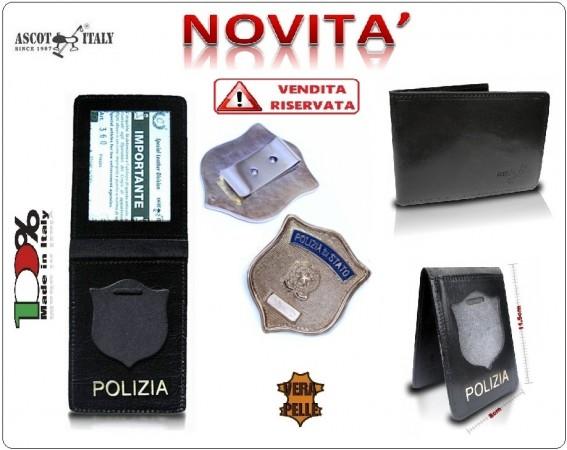 Portadocumenti + con Placca Operativa Polizia di Stato Ascot Italy Novità Art.360PS