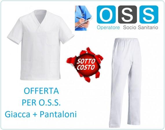 Completo Casacca Giacca + Pantaloni Bianca Offerta Sottocosto per Operatori Socio Sanitari OSS Art.550001A-AMELIA