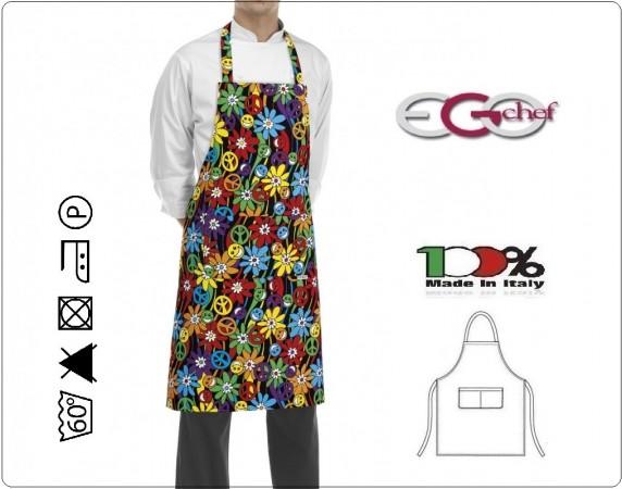 Grembiule Cucina Pettorina con Tascone cm 90x70 Pace And Love Ego Chef Italia Art. 6103147A