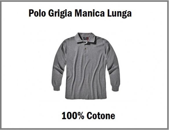Polo Manica Lunga Grigia Cotone 100% Tinta Unita Art.MORE-2