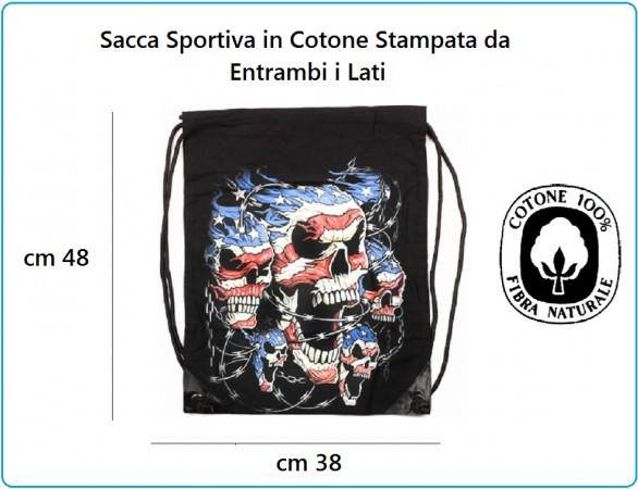 Zaino Sacca Sportiva con Stampa Bandiera Americana con Teschi Art.351650-3007