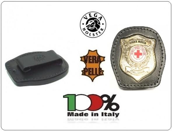Placca Da Cintura in Cuoio con Placca Metallo Croce Rossa Italiana CRI Vega Holster Italia Art. 1WA117
