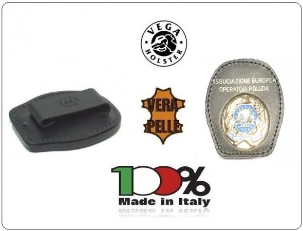 Placca Da Cintura in Cuoio con Stemma Metallo A.E.O.P. Associazione Europea Operatori di Polizia Vega Holster Italia Art.1WA122