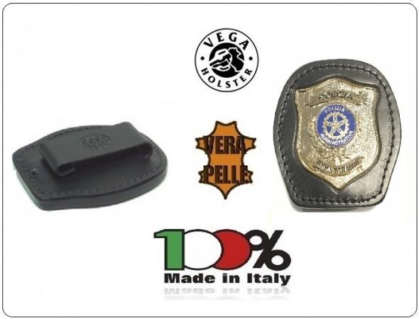 Placca Da Cintura in Cuoio con Placca Metallo Polizia Amministrativa Vega Holster Italia Art. 1WA108