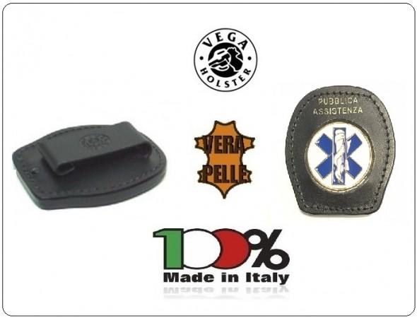 Placca Da Cintura in Cuoio con Placca Metallo Pubblica Assistenza Croce Esculapio 118 Soccorso Vega Holster Italia Art. 1WA51