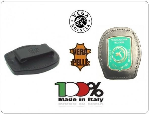 Placca Da Cintura in Cuoio con Placca Metallo Associazione Italiana Caccia Vigilanza Ittico Venatoria Ambientale Vega Hoster Italia Art. 1WA120