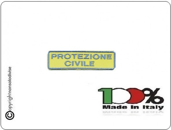 Patch Toppa Ricamo Protezione Civile Scritta 2 Righe Art.EU246