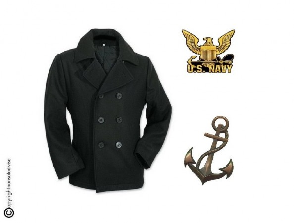 Giacca Giaccone Cappotto Marina Marinaio Vintage Navy Pea Coat Marine Army Nero Bottoni Neri Art. 09015G