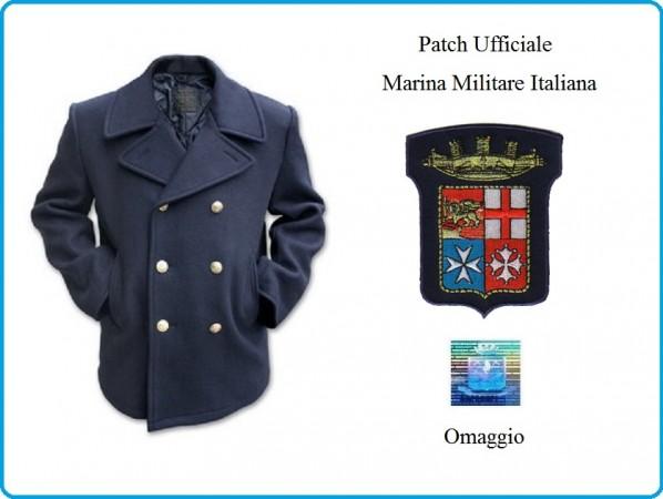 Giacca Giaccone Cappotto Marina Marinaio Vintage Navy Pea Coat Marine Army Blu Bottoni Oro + Patch Ricamata Logo Marina Militare Italiana Originale  Art.CAP-MAR