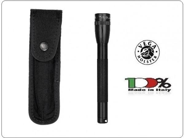 Portapila Porta Torcia Porta Pila Professionale per Cinturone Cordura Nera Vega Holster Italia Art.2P85