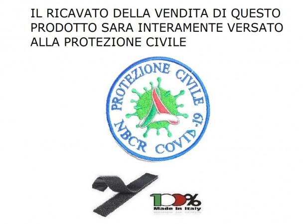 Patch Toppa Ricamata Protezione Civile Volontari e Nazionale Emergenza NBCR COVID-19 con Velcro cm 8 INCASSO DEVOLUTO ALLA PROTEZIONE CIVILE Art.PC-COVID-19