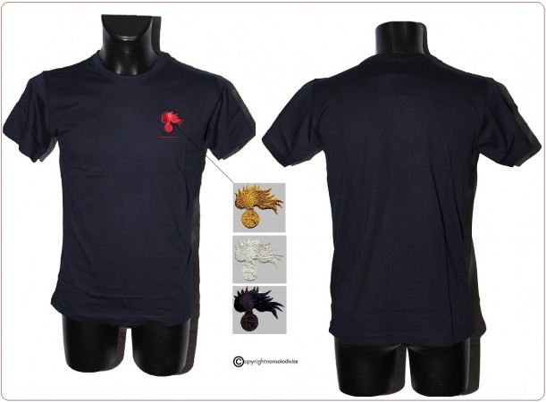T-shirt Maglia Carabinieri Manica Corta Riamo Fiamma Rossa Nera Argento Oro non Applicata  Art.CC-T-X