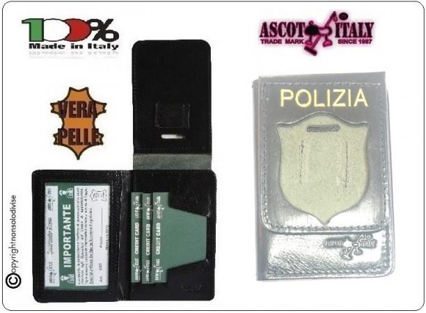 Portafoglio Porta Placca Vera Pelle Portadocumenti Polizia di Stato con Stampa POLIZIA PS Ascot Italia New LIBERA VENDITA Art.600PS-02