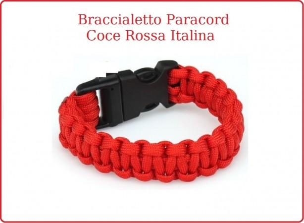 Bracciale Paracord Rosso  Emergenza C.R.I. Soccorso Croce Rossa Italiana   Art.16370110