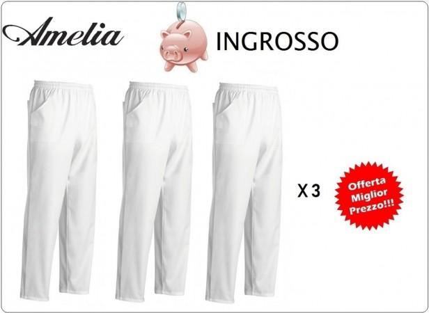 Pantalone Unisex Professionale Coulisse Cuoco Chef Bianco 100% Cotone Tinto in Filo By Amelia Primo Prezzo per Scuola Alberghiera Offerta Ingrosso Art.AMELIA-ING