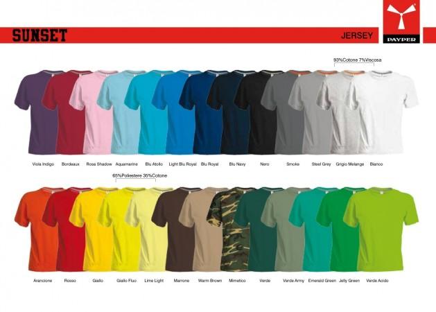 T-shirt Girocollo Manica Corta SUNSET Payper Vari Colori Jersey 150gr Art.SUNSET