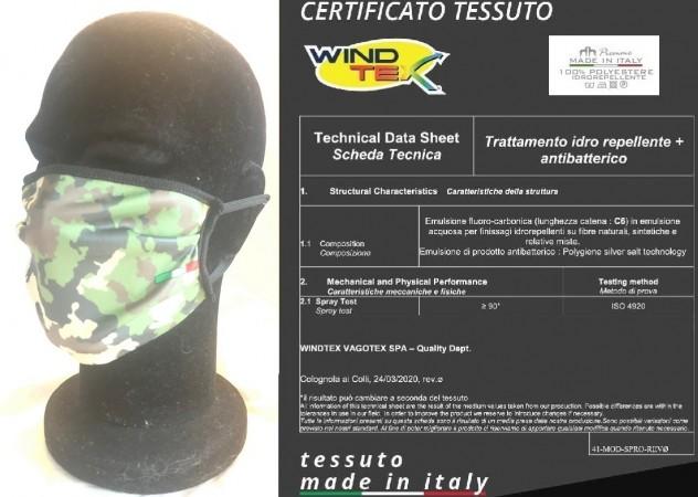 Mascherina Protettiva Vegetato Esercito Italiano Marina Militare Aeronautica Lavabile 20 Volte COVID-19 Art. PM-EI