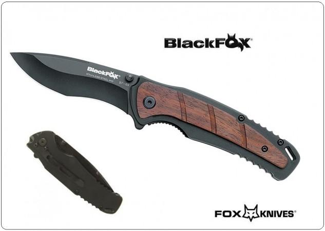 Black Fox Coltello Serramanico Chiudibile con Manico in Alluminio e Sandalo Nero BF 69 BF69 Art.BF-69
