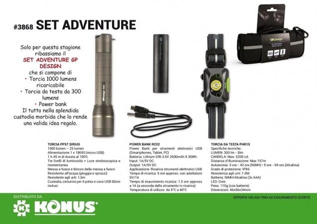 GP Design Rechargeable Adventure Kit Torcia 1000 lm + Torcia fronte 300 lm + power Bank  XPLOR ANDROMEDA PHR15 Konus Art. 450045