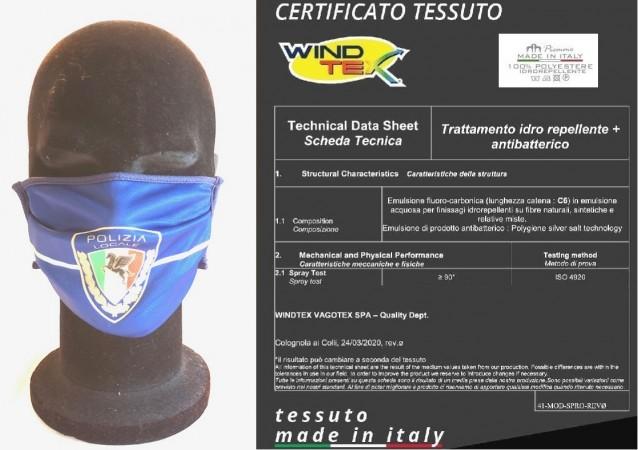 Mascherina Protettiva Modello Adulto Polizia Locale Nuovo Logo Lavabile 20 Volte COVID-19 Art. PM-PLN