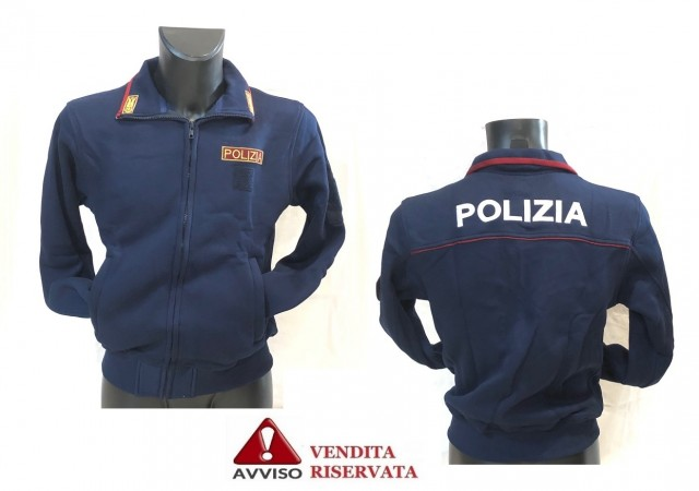 Felpa Polizia di Stato Maglione con Cerniera e Bordino Cermesi Alamri + Ricami POLIZIA VENDITA RISERVATA Art. FELPA-PS-FINE