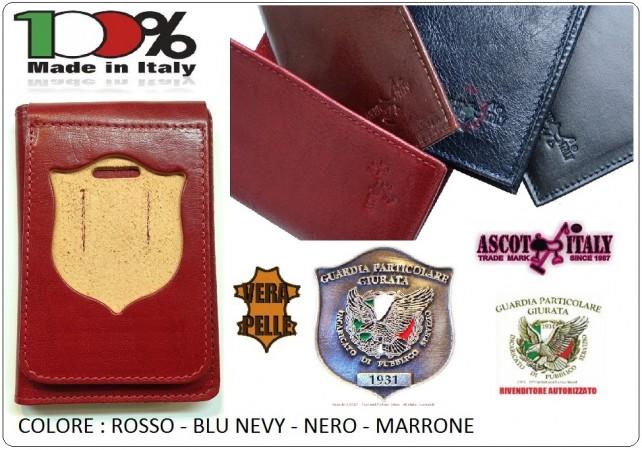 Portafoglio Pelle Portadocumenti Con Placca Estraibile Guardie Particolari Giurate GPG IPS  Ascot Italia New Blu - Nero - Rosso - Marrone  Art.600GPGIPS