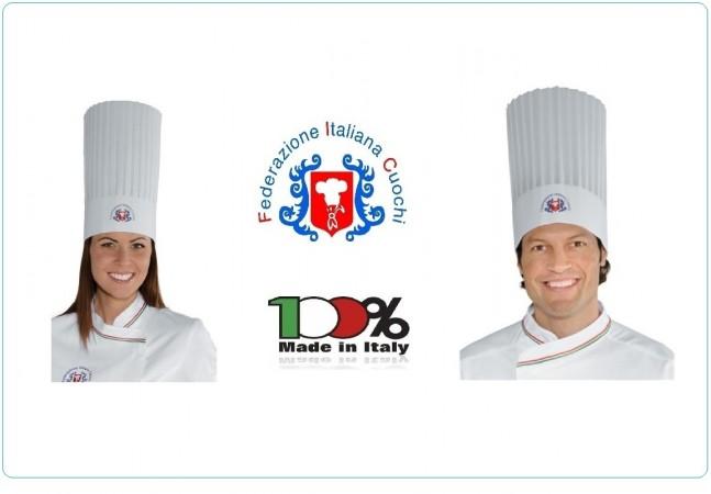 Cappello Berretto Cuoco Chef in TNT Unisex  FIC Federazione Italiana Cuochi Originali Isacco Art.074097