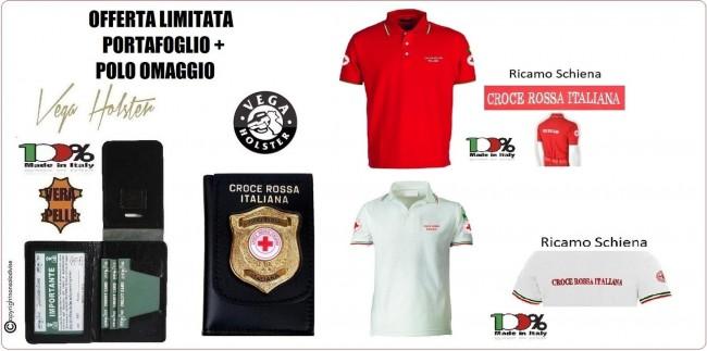 Portafoglio con Placca Croce Rossa Militare Vega Holster 1WD117 + Omaggio Polo Croce Rossa Italiana Rossa o Bianca OFFERTA LIMITATA Art.OFFERTA-CRI