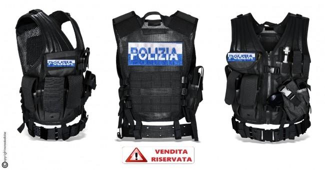 Tactical Vest Gilet Tattico Modulare Corpetto Tattico Mil-Tec Nero POLIZIA DI STATO Bicolor VENDITA RISERVATA Art.10720002-PS