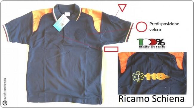 Polo Manica Corta Nuovo Modello Completamente Ricamata 118 Soccorso Sanitario  Art.NSD-POLO-118