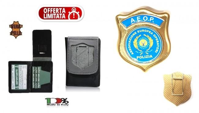 Portafoglio Portadocumenti con Placca a clip A.E.O.P. AEOP Ass. Nazionale Operatori di Polizia   Art. 1WDAEOPOFF