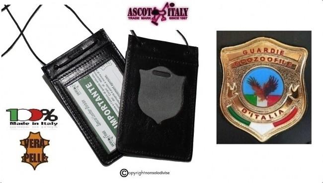 Porta Placca Portaplacca da Collo  + con Placca Guardia Ecozoofile D'Italia Vega Holster + Ascot  Art. 602-137