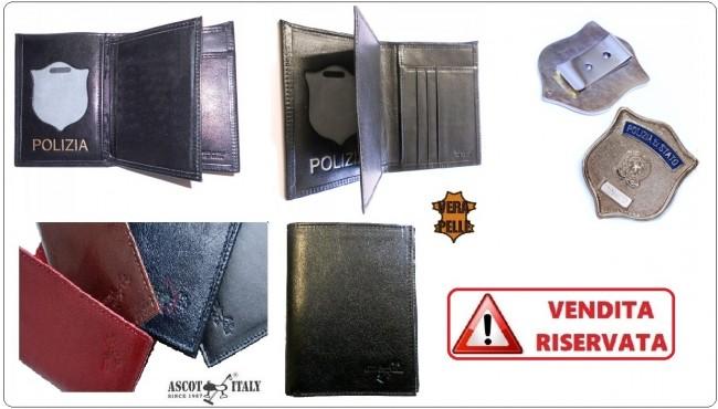 Portafoglio Apertura Libro Pelle Portadocumenti Polizia di Stato Modello Plus Ascot Italy Art.561PS