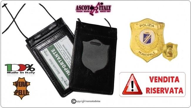 Porta Placca Portaplacca da Collo per POLIZIA LOCALE PL Operativi VENDITA RISERVATA Ascot Italia Art.602PL